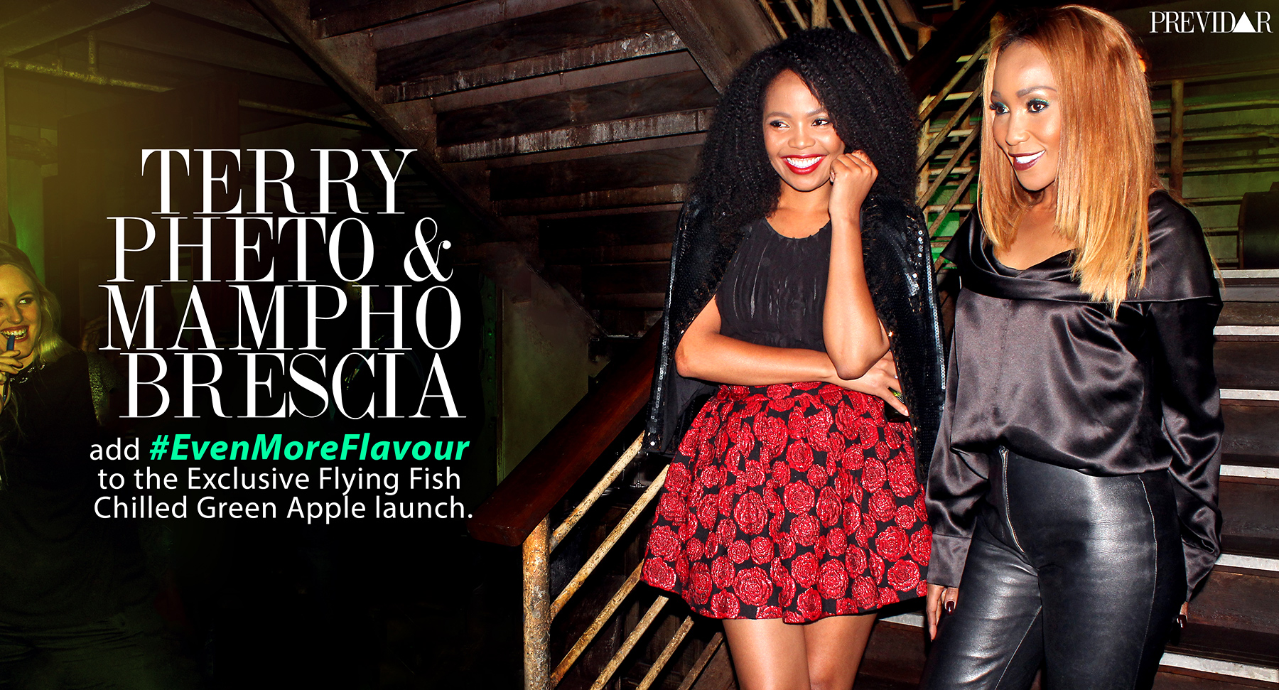 Terry Pheto & Mampho Brescia attends the Flying Fish Green Apple Launch. Photographed by Lawrence Manyapelo.