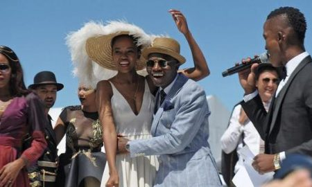 Cape Town - 170128 - The best dress prize was won my couple 12, Blogger Abongwe Qokela and model (girl) Anesu Chogugudza. Celebs and media stard attended the Sun MET, held at Kenilworth racecourse. Photographer: Armand Hough
