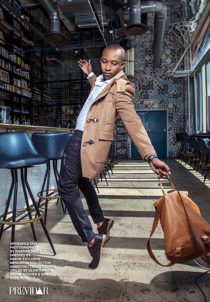 Siphisihle Vazi, dressed by SIMONI Exclusive Menswear Collection (Sandton). Photo by Kieran Trent