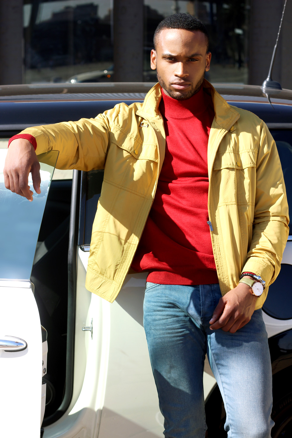 Jacket, Turtle Neck & Pants by SIMONI Exclusive Menswear Collection. Watch by Wolsch SA